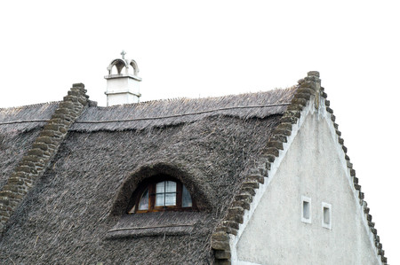 Rustic villager house roof made of thatching Stock Photo