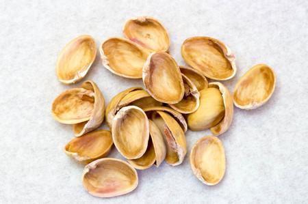 Upper view of empty pistachio shells