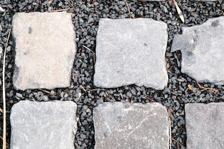 Upper view of stone made sidewalk