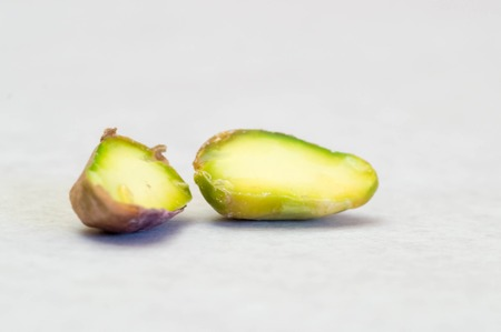 Macro shot of a halved pistachio interior Stock Photo