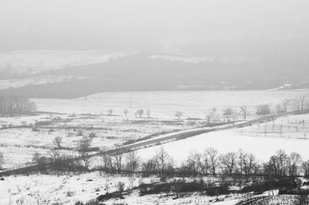 Foggy black and white landscape picture