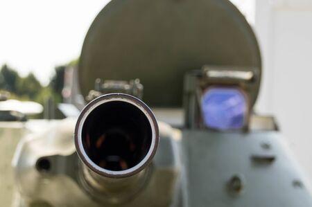 Tank barrel in close up shot