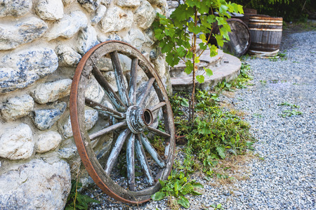 rockwall: wooden wheel from the old carts