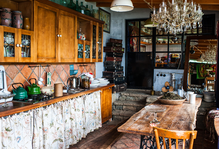 interior of the kitchen in a rustic style Archivio Fotografico