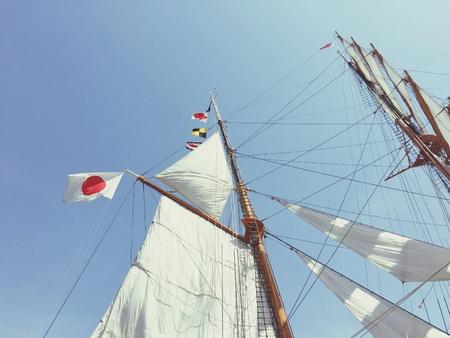 Nihon Maru at full sail in Yokohama
