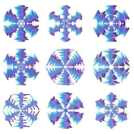 set of snowflakes  elements grouped  layered vector for easy manipulation Stock Vector - 16798221