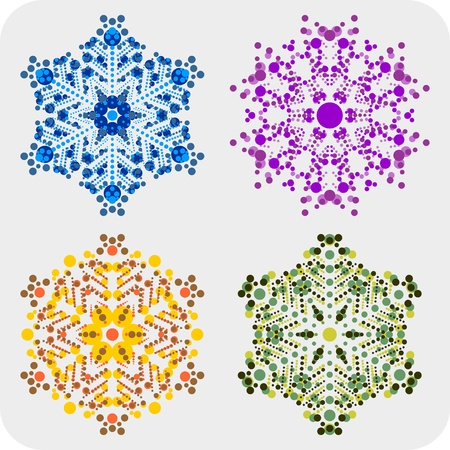 set of snowflakes  global colors used  elements grouped  layered vector for easy manipulation Stock Vector - 16798220