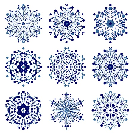 set of snowflakes  global colors used  elements grouped  layered vector for easy manipulation Stock Vector - 16798225