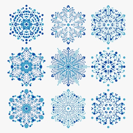 set of snowflakes  global colors used  elements grouped  layered vector for easy manipulation Stock Vector - 16798224