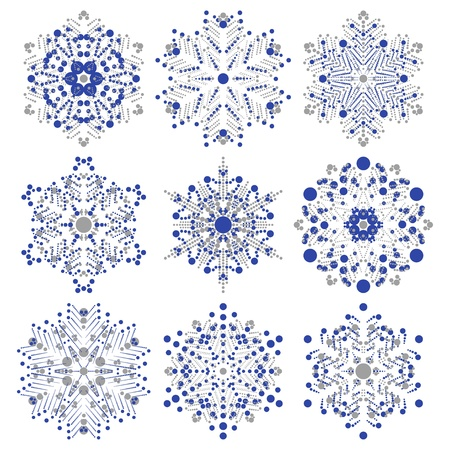 set of snowflakes  global colors used  elements grouped  layered vector for easy manipulation Illustration