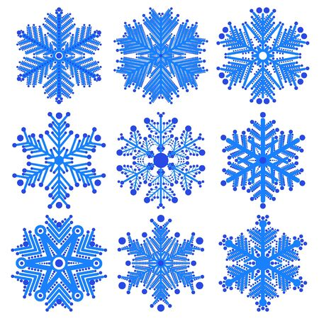 set of snowflakes  elements grouped  Eps 8 Stock Vector - 16798222