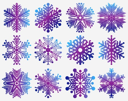 set of snowflakes  elements grouped  layered vector for easy manipulation Stock Vector - 16798223