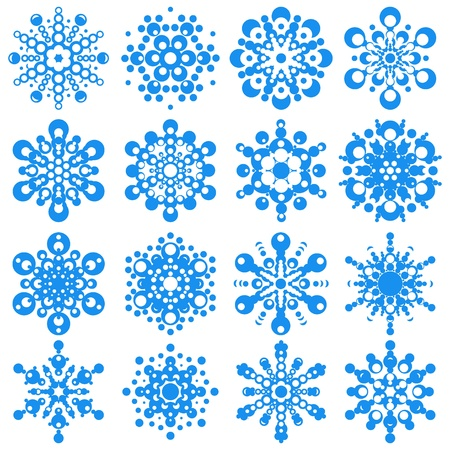 set of snowflakes  elements grouped  Eps 8 Stock Vector - 16798217