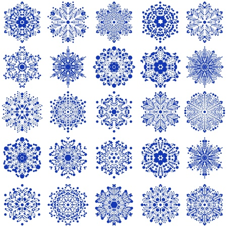 set of snowflakes  elements grouped  Eps 8 Illustration