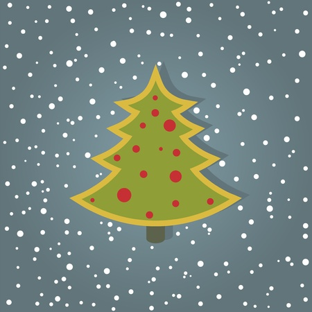 christmas card with cristmas tree   layered vector Illustration