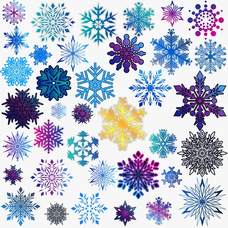 set of snowflakes  elements are grouped  Stock Vector - 17179951