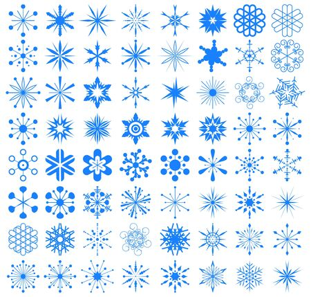 set of snowflakes. elements are grouped Illustration