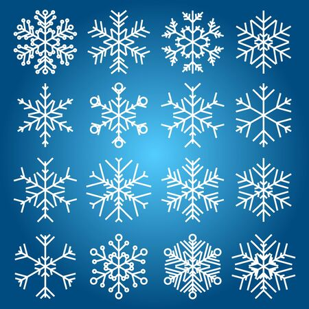 set of snowflakes. elements are grouped.