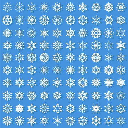 set of snowflakes. elements are grouped.  Illustration