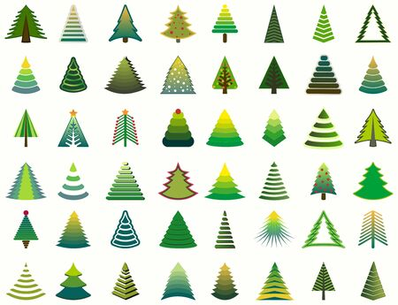 various christmas tree collection. elements are grouped