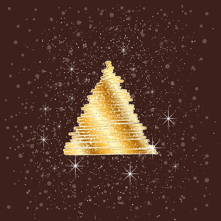 christmas card with cristmas tree.  layered vector