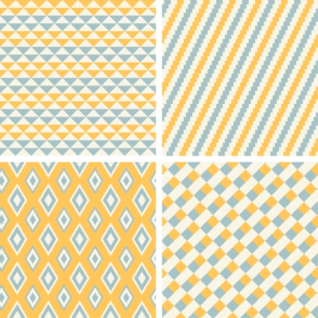 geometric seamless patterns set.  Illustration