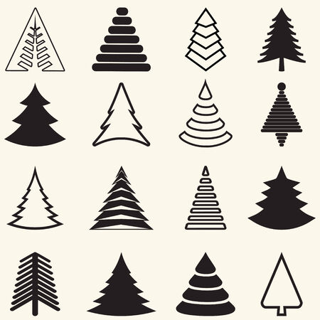 set of christmas tree icons. vector illustration.