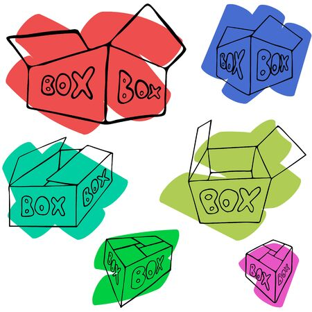 packing material: Set of  hand drawn flat boxes on colorful spot. illustration isolated on white, multiple perspectives.