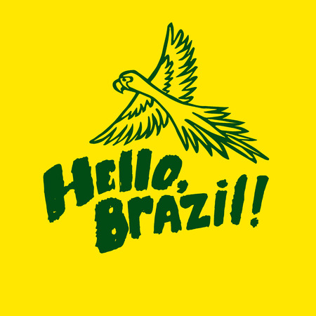 ara: Hello, Brazil greeting card with an ara parrot Illustration