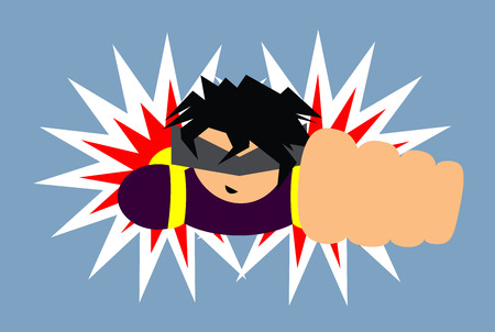 a fellow: Flat vector illustration of a guy with a jetpack. Man is flying in a pose of a hero. Illustration