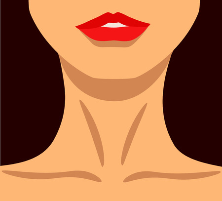A vector illustration of a beautiful woman with make up lips.