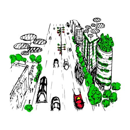 partially: An outline sketch of an eco city of the future. A partially painted hand drawn vector illustration. Illustration