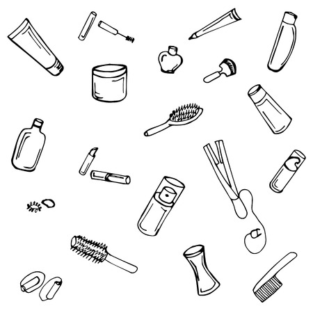 mousse: A doodle illustration set of beauty attributes,  hand drawn
