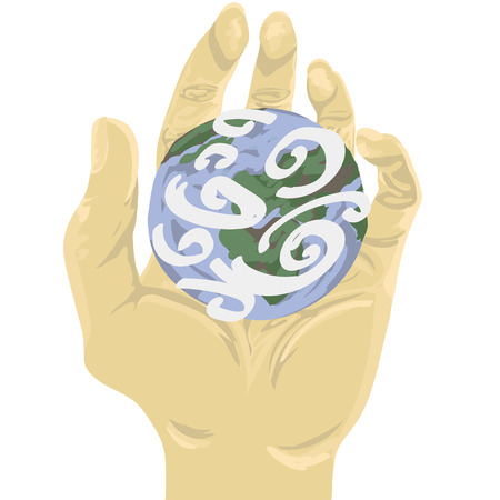 palmistry: a sign of a peace: hand holding the planet