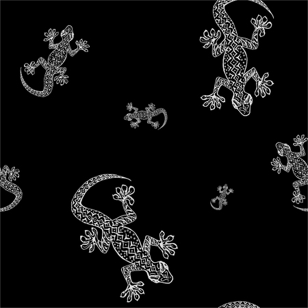 herpetology: Black and white seamless pattern with hand drawn gecko