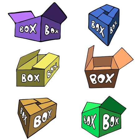 foreshortening: Six bright flat boxes in different foreshortening. Hand drawn vector illustration isolated on white, cartoon design. Illustration
