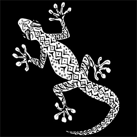herpetology: Isolated hand drawn asian gecko