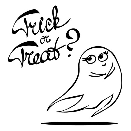 laconic: Laconic Halloween card with a cute shy ghost and hand drawn lettering Trick or treat. Black and white illustration isolated on white.