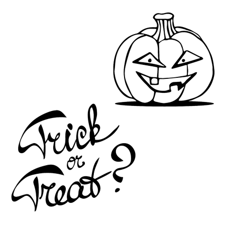 laconic: Laconic Halloween card with a pumpkin lantern and hand drawn lettering Trick or treat. Black and white illustration isolated on white.