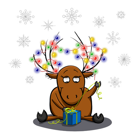 unpacking: Cute cartoon deer, unpacking a gift. Christmas and New Year theme. Greeting card. illustration in hand drawn style. Illustration
