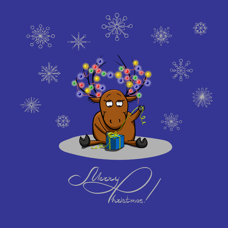 unpacking: Cute cartoon deer, unpacking a gift. Christmas and New Year theme. Greeting card. Illustration