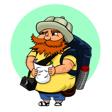 Vector illustration of typical tourist with map, camera and with a big backpack. A red-haired man in a touristic hat, searching some landmark