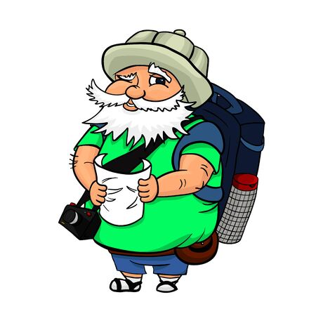fatso: Illustration of an old typical tourist with a map, a camera and with a big backpack. A man in a touristic hat, searching some landmark. Smiling grey-haired old man. Illustration