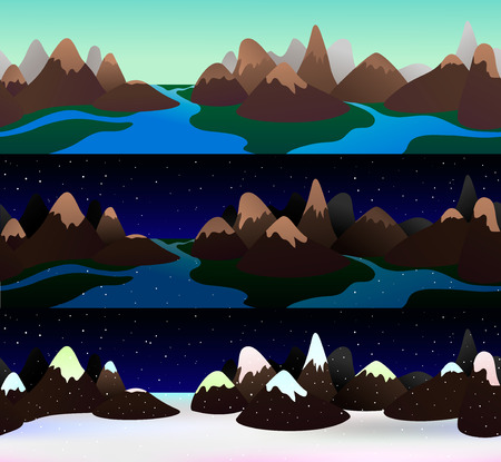 snowcapped: Beautiful flat landscape of a mountain chain with river. Tree seasons, several times of a day. Starlight and snowy night, shining day. Seamless banner for web, header design. Vector illustration.