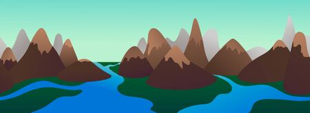 Beautiful flat landscape of a mountain chain and a river. Seamless banner for web, header design. Vector illustration.