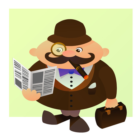 englishman: Cute cartoon illustration of a typical englishman. Vector character. A man with a cigarette, a paper and a suitcase.