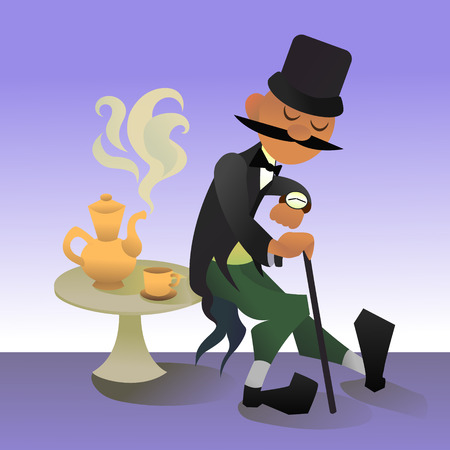 englishman: Cute cartoon illustration of a typical englishman. Waiting for traditional five oclock tea. Vector character.