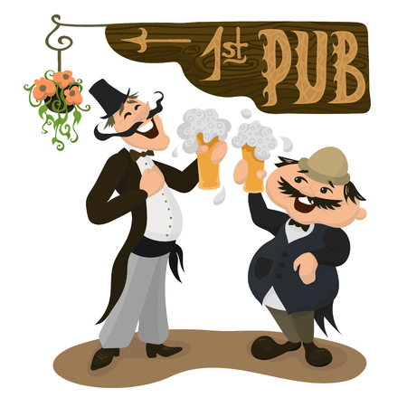 englishman: Two happy Englishmen drinking beer in a traditional pub. British men in traditional clothes. Vector illustration in flat cartoon style.