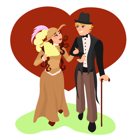 A couple walking arm-in-arm. An English girl and guy on a date. In love. Vector illustration