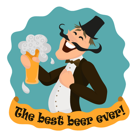 Happy Englishman with glass of tasty beer. The best beer ever. Vector illustration isolated on white.